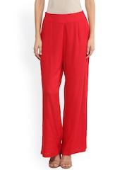 Fusion Beats Women Red Solid Palazzo Trousers