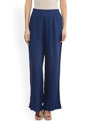 Fusion Beats Women Blue Solid Palazzo Trousers