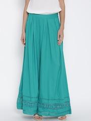 Fusion Beats Women Sea Green Solid Palazzo Trousers
