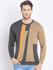 Monte Carlo Grey & Beige Colourblocked Sweater