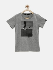 PUMA Boys Grey Melange DryCELL Printed T-shirt