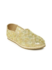 Rocia Women Gold-Toned Woven Regular Espadrilles