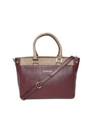 Hotberries Maroon Textured Handbag with Sling Strap