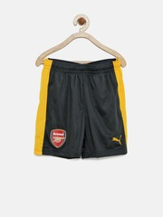 PUMA Boys Charcoal Grey & Mustard Yellow Polyester Arsenal Sports Shorts