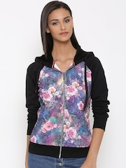 Fort Collins Black & Purple Floral Print Textured Hooded Sweatshirt