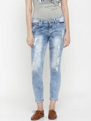Elle Women Blue Super Skinny Fit Mildly Distressed Jeans