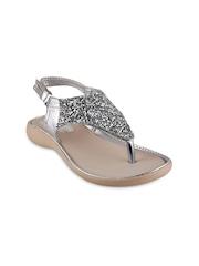 Beanz Girls Silver-Toned Sequinned Flats