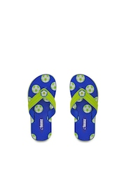 Beanz Boys Lime Green & Blue Printed Flip-Flops