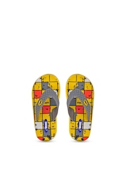 Beanz Girls Grey & Yellow Printed Flip-Flops