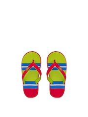 Beanz Girls Red & Green Striped Flip-Flops