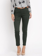 Van Heusen Woman Olive Green Solid Regular Fit Flat-Front Trousers