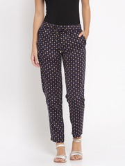 Van Heusen Woman Navy Printed Flat-Front Trousers