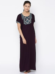 Sand Dune Burgundy Embroidered Maxi Nightdress 4872