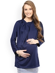 Mamacouture Navy Polyester Maternity Top