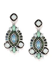 DressBerry White & Green Embellished Drop Earrings