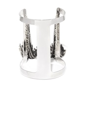 DressBerry Steel-Toned Cuff Bracelet with Chain Detail