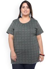 plusS Grey & Green Gometric Print T-Shirt