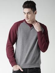 SELA Grey Melange & Maroon Colourblocked Sweatshirt
