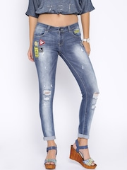 Deal Jeans Women Blue Regular Fit Mid-Rise Highly Distressed Jeans