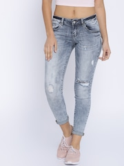 Deal Jeans Women Blue Skinny Fit Mid-Rise Highly Distressed Jeans