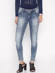 Deal Jeans Women Blue Skinny Fit Mid-Rise Distressed Jeans