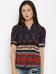 Deal Jeans Navy Printed Shirt