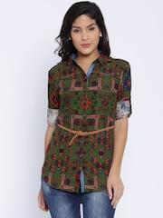 Deal Jeans Women Green Regular Fit Printed Casual Shirt