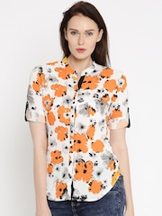 Deal Jeans Women White Regular Fit Printed Casual Shirt