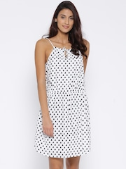 Allen Solly Woman Off-White Printed Fit & Flare Dress