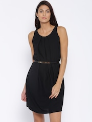 Allen Solly Woman Black Solid Belted Dress