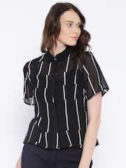Allen Solly Woman Black & White Regular Fit Striped Casual Shirt