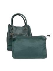 Accessorize Dark Green Textured Handbag with Sling Bag