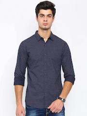 SPYKAR Men Navy Regular Fit Printed Casual Shirt