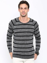 SPYKAR Men Charcoal Grey & Black Striped Sweater