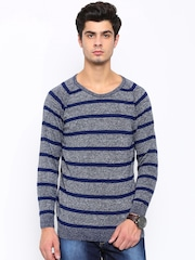 SPYKAR Men Blue Striped Sweater