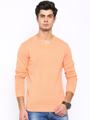 SPYKAR Men Peach-Coloured Sweater