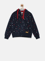 U.S. Polo Assn. Kids Boys Navy Printed Hooded Sweatshirt