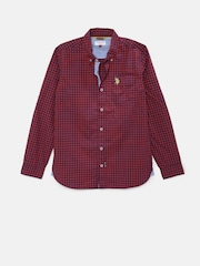 U.S. Polo Assn. Kids Boys Red Regular Fit Checked Casual Shirt