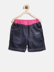 StyleStone Girls Navy Washed Denim Shorts