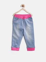 StyleStone Girls Blue Washed Denim Capris