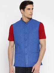 True Blue Blue Nehru Jacket