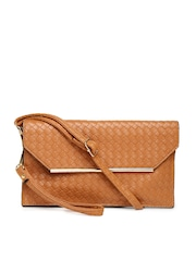 Mast & Harbour Tan Brown Basketweave Clutch