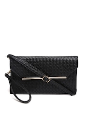 Mast & Harbour Black Basket Weave Clutch