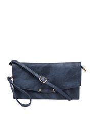 Mast & Harbour Blue Textured Oversized Clutch