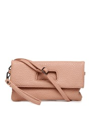 Mast & Harbour Pink Textured Foldover Clutch