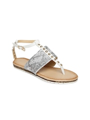Addons Women White & Silver-Toned Studded Flats