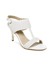 Addons Women White Textured Heels