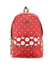 Bags.R.us Unisex Red Polka Dot Print Backpack