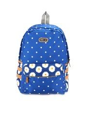 Bags.R.us Unisex Blue Polka Dot Print Backpack