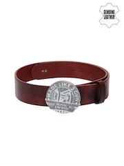 Royal Enfield Men Red Genuine Leather Belt